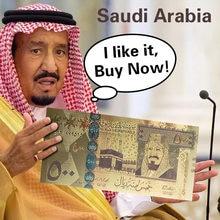 Gold Banknote Bunte 500 Riyals SAUDI-ARABIEN FÜR SAMMLUNG, 999GoldFoil Polymer
