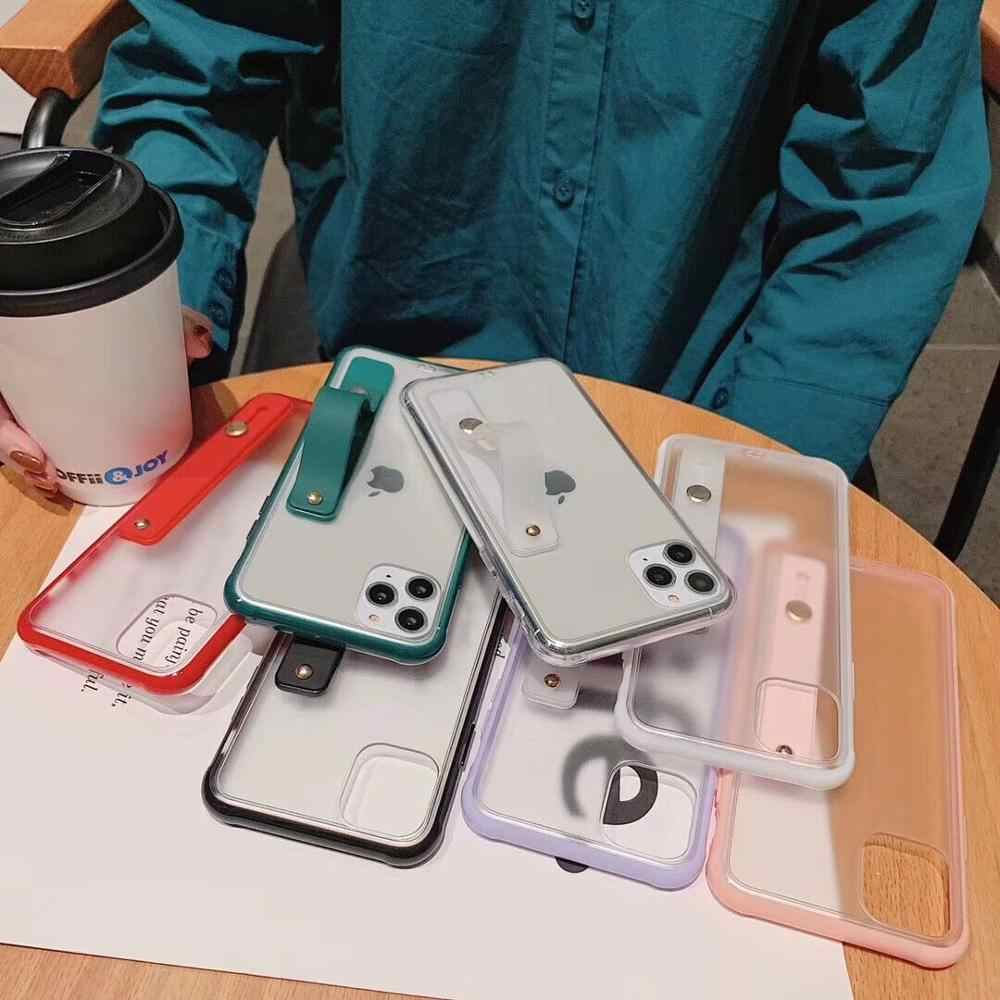 Funda de teléfono LOVECOM a prueba de golpes con correa para muñeca para iPhone 11 Pro Max XR XS Max 6 6S 7 8 Plus X suave TPU Color caramelo