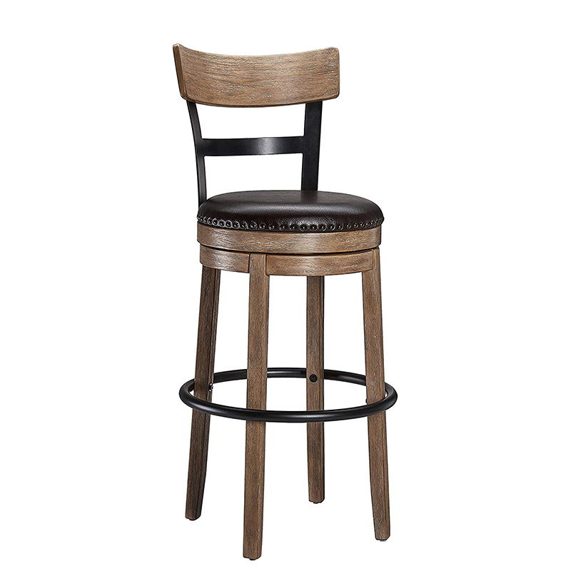Wooden Bar Chair Rotating Retro Craft PU Leather Bar Stool Home Bar Chair Solid Wood High Chair High Bar Stool