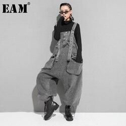 [EAM] A Vita Alta Tasca Nero Split Denim Tute e Salopette Pantaloni New Loose Fit Pantaloni Delle Donne di Modo di Marea di Autunno della Molla 2020 1K164
