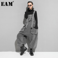 [EAM] High Waist Black Pocket Split Denim Overalls Trousers New Loose Fit Pants Women Fashion Tide Spring Autumn 2020 1K164