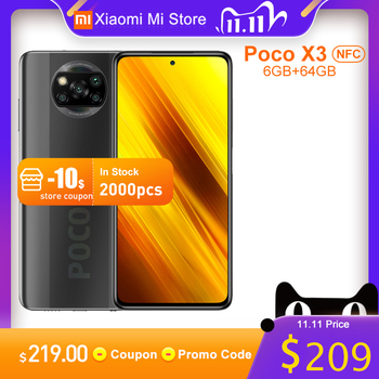 Global Version Xiaomi Poco X3 NFC Mobile Phone 6GB 64GB Snapdragon 732G Octa Core 64MP Camera 5160mAh Battery 120Hz Smartphone