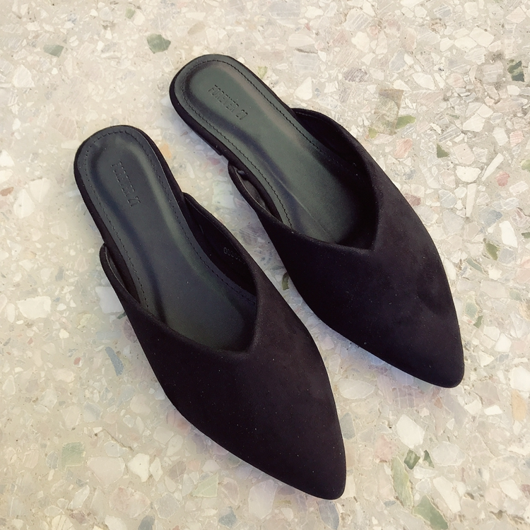 Summer Slippers Flats Indoor And Outdoor Wear Fashionable Pointed Flat-bottomed Slacker Muller Shoes Black Shoes