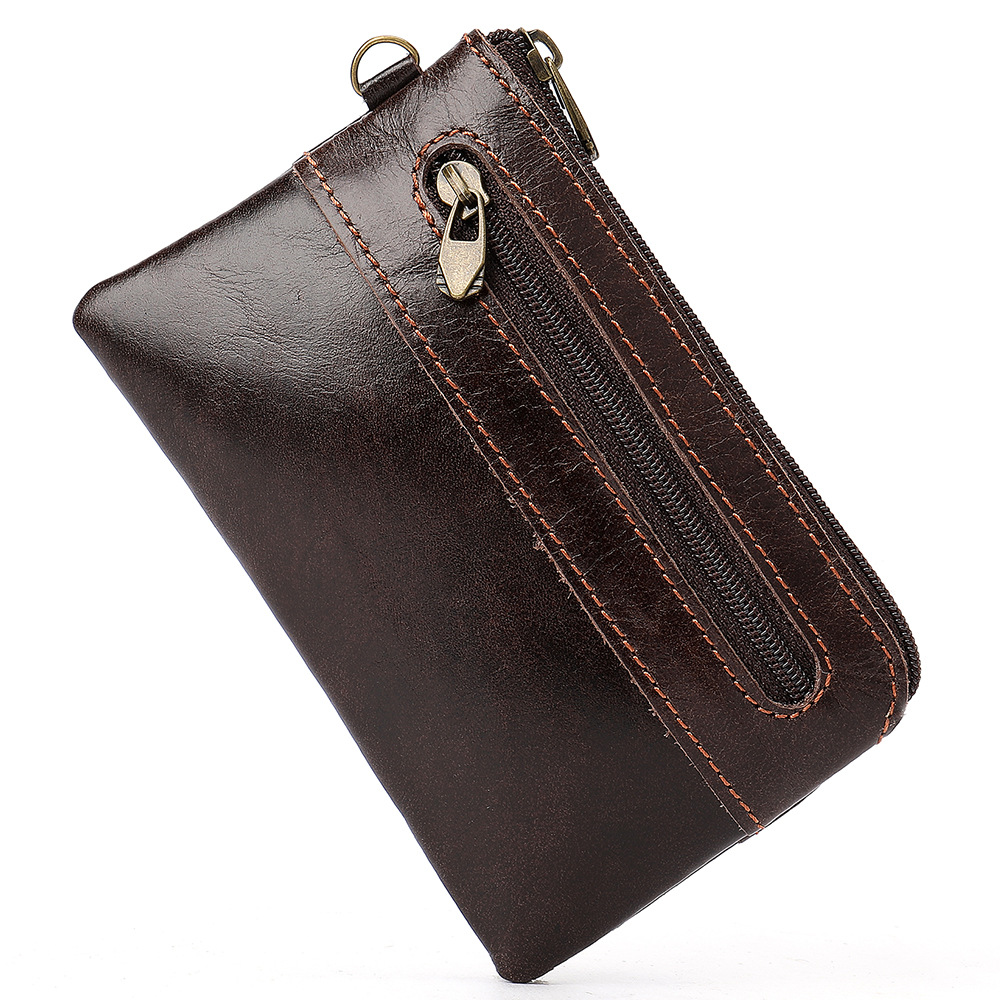 New Genuine Cowhide Coin Purse Men Retro Zipper Pouch Genuine Leather Male Change Purse Money Bag Mini Zero Wallet Key Bag