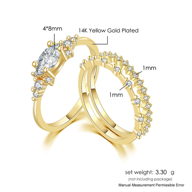 Tiny Small Ring Set For Women Gold Color Cubic Zirconia Midi Finger Rings Wedding Anniversary Jewelry Accessories Gifts KAR229 6