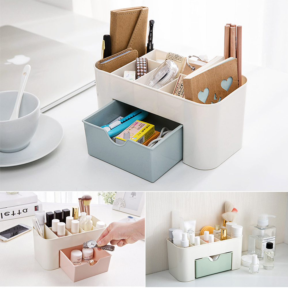High Quality Plastic Makeup Organizer for Storage of Cosmetics and Makeup Brushes with Compartments and Drawer 1