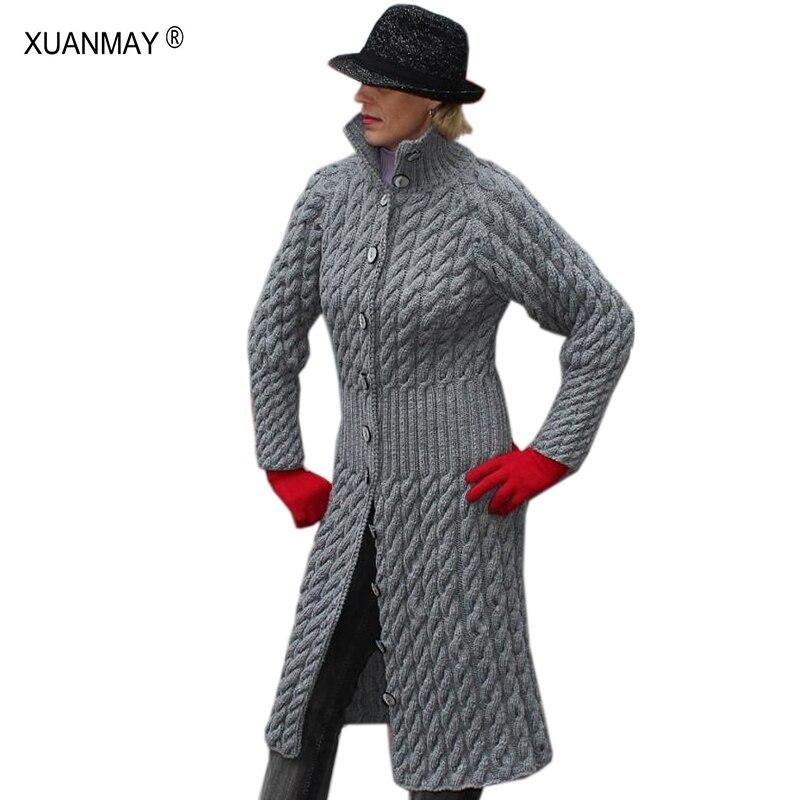 Women's Thick Long Style Cardigan Sweater Winter Button Cardigan Sweater Cozy Warm 2019 Autumn Gray Knit Cardigan Sweater Coat