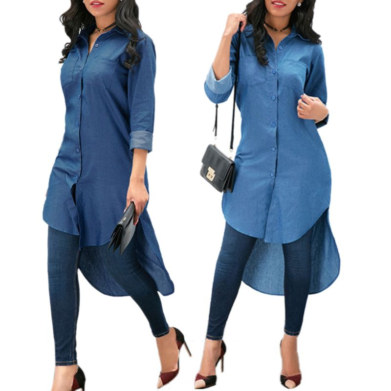 Womens Blue Jeans Denim T-Shirt Long Sleeve Casual Loose Mini Shirt Dress