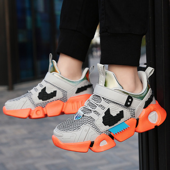 Spring Youth Boys Shoes Mesh Breathable Sport Children Anti Slip Walking Sneakers Comfortable Brand