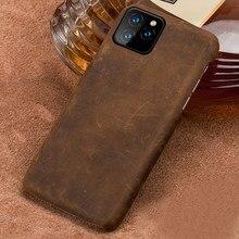 De PULL-UP caso de cuero del teléfono para iphone 12 Mini 12 Pro Max 11 Pro Max X XR XS MAX 6s 6 7 8 Plus 5S SE 2 Caballo Loco cubierta
