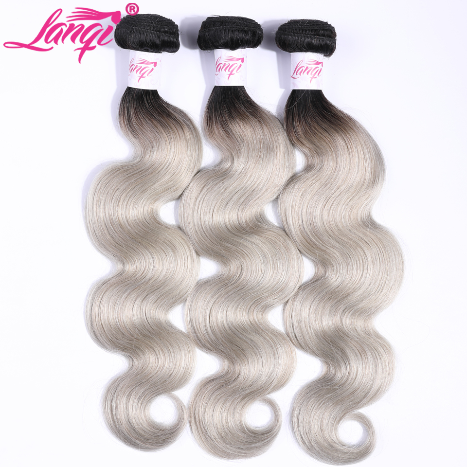Peruvian hair Body Wave 1 3 Bundles Deals Lanqi Dark Roots T1B Grey Ombre Non Remy