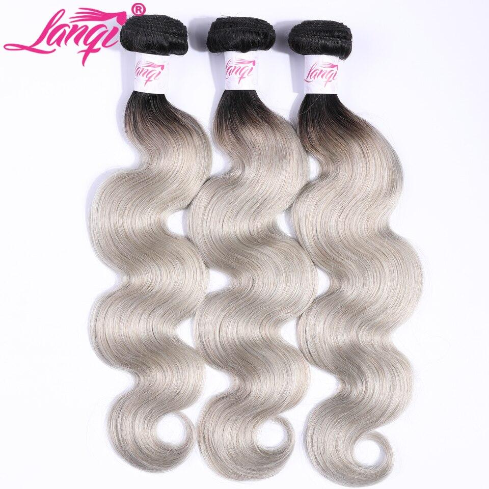 Перуанские волосы объемная волна 1/3 пучка предложения Lanqi темные корни T1B/серый Ombre не Remy натуральные кудрявые пучки волос накладки для седых