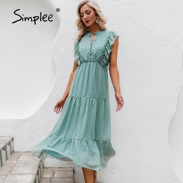 Simplee Summer Loose Casual Ruffled Women's Dress 2021 Holiday Beach Green Buttoned Long Dress Elegant Lady Sleeveless Vestidos 1