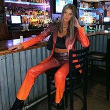 Sweetown PU skóra Gothic Y2K biegaczy kobiety brązowy Gradient odzież w stylu punkowym i ulicznym spodnie niskiej talii E dziewczyna estetyczne proste spodnie