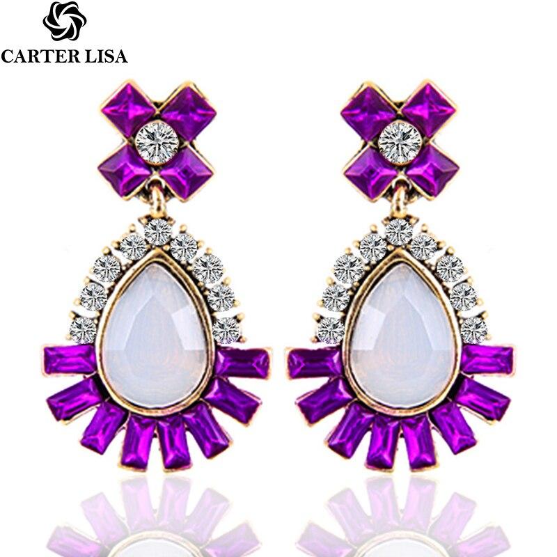 CARTER LISA New Fashion Women Statement Stud Earrings For Women Fashion Earrings Crystal Earrings Factory Wholesale Jewelry Gift
