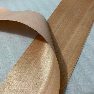 Image 2 - Naturalny prawdziwy czerwony orzech drewno fornir plasterek 20cm x 2.5m podkład z tkanką do mebli Q/C proste ziarno