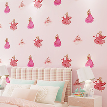 Cartoon wallpaper 3D children's room home wall paper non-woven girl castle princess room bedroom TV background wallpaper pink цена 2017