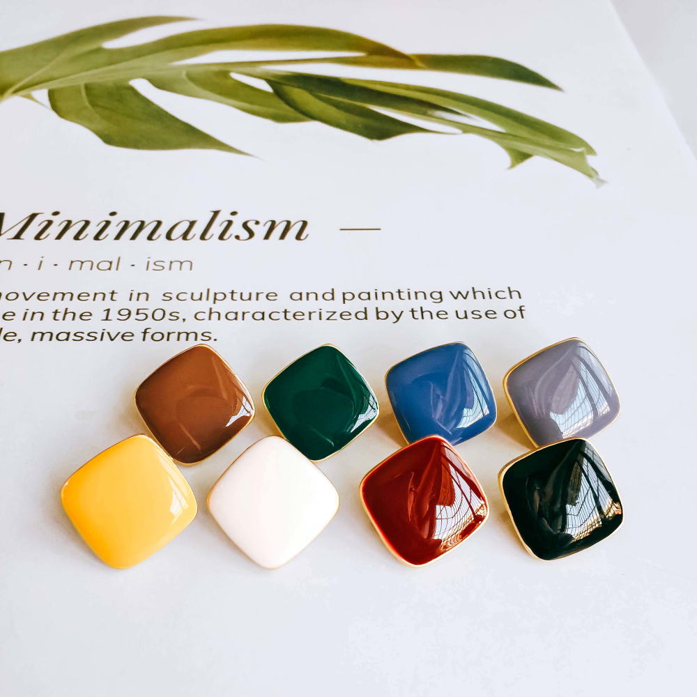 Enamel Square Alloy Stud Earring Components Eardrop Simple Style For Women DIY Jewelry Accessories Handmade Materials 6pcs