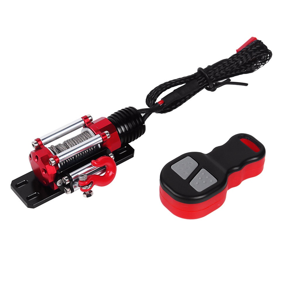RC Car Metal Winch + Wireless Remote Controller for 1:10 RC Crawler Car Traxxas TRX4 Axial SCX10 90046 90047 D90 D110 TF2|Replacement Parts & Accessories| |  - title=