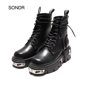 2020 Shoes Women Ankle Martin Boots Fashion Brand Ladies Chunky footware Female zapatos de mujer Cross-tied Shoes Black Boots