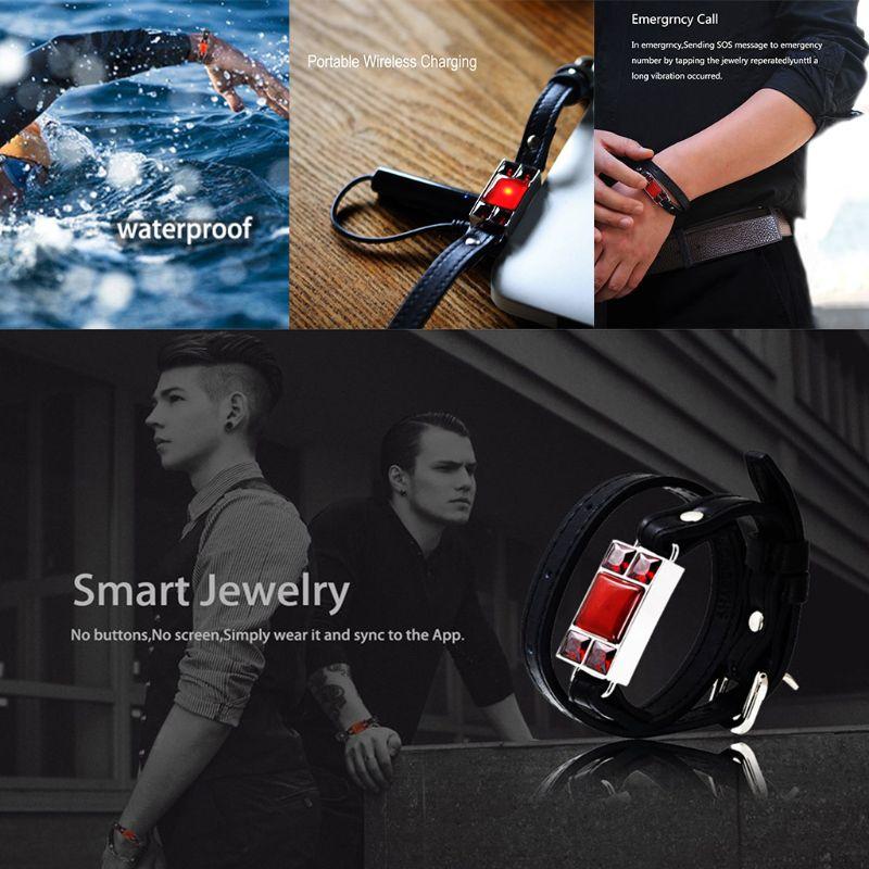 Pour SHAREMORE Bracelet intelligent hommes Bracelet en cuir Bracelet pierre bijoux cadeaux appel d'urgence sécurité personnelle sans fil Recharge