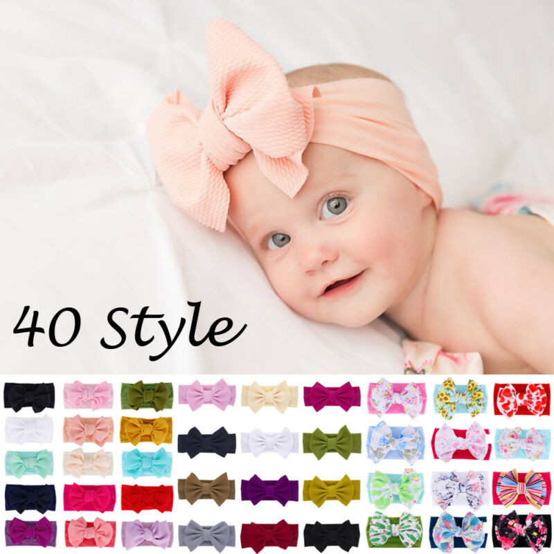 1Pc Girls Baby Toddler Headband Turban Bowknot Headband Hair Band Accessories Headwear Elastic Hair Bands Kids Girls Headbands