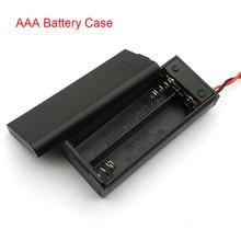 AAA סוללה מחזיק מקרה תיבת עם מוביל עם ON/OFF מתג כיסוי 2 חריץ סטנדרטי סוללה מיכל