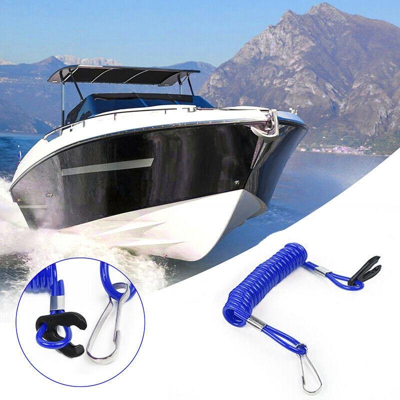 HIAORS Blue Boat Engine Motor Outboard Ignition Emergency Kill Stop Switch Key Lanyard Rope Clip for Yamaha Honda Outboard Motors ATV Boat Bike