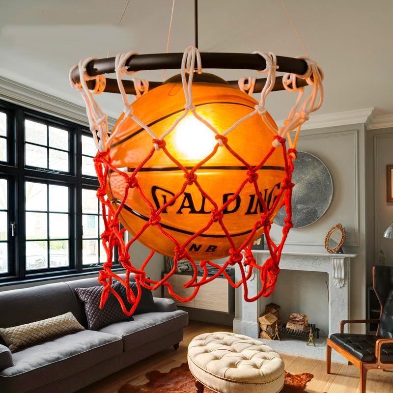 Işıklar ve Aydınlatma'ten Kolye ışıkları'de Modern kolye lamba spor tema Bar futbol kolye ışıkları yatak odası çocuk basketbol futbol asılı lamba çocuk odası luminaria title=