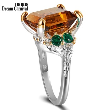 DreamCarnival New Fall Winter Solitaire Wedding Rings for Women Big Dazzling Brown Zircon Dating Jewelry Christmas Gift WA11739 1