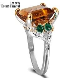 Dreamcarnaval coleção anéis de casamento femininos, anéis para casamento tamanho grande zircônia marrom namorados wa11739