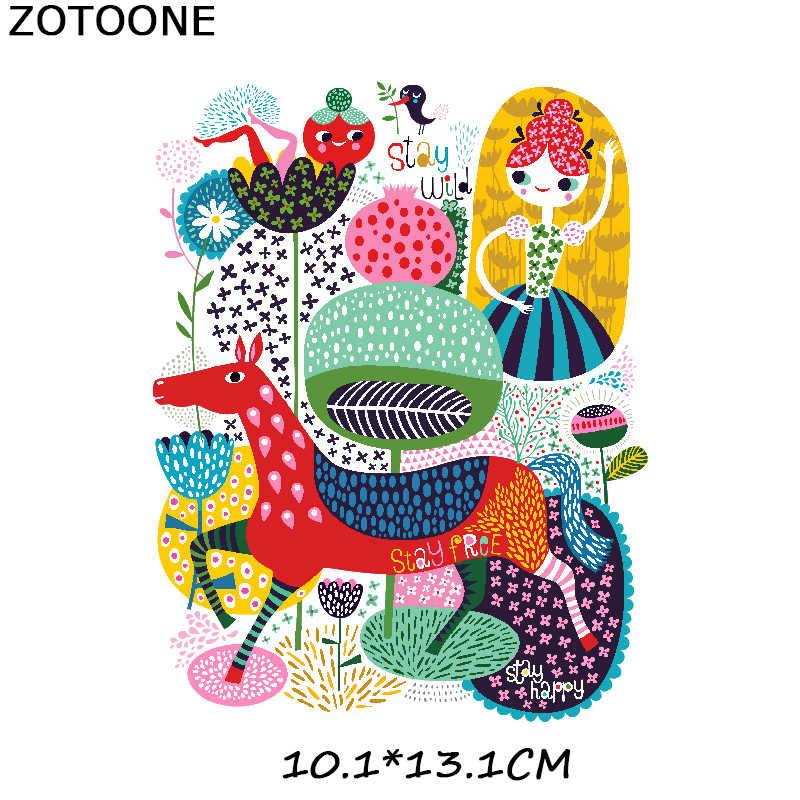 ZOTOONE hierro en colorido Animal ciervo parche con forma de flor Transfers para la ropa camiseta Transferencia de Calor apliques DIY pájaro pegatinas E