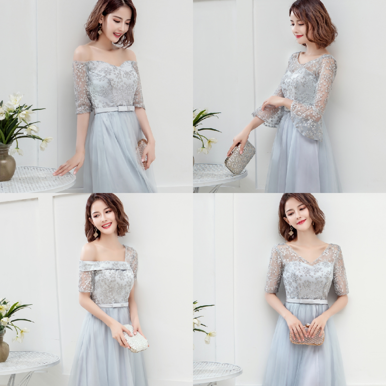 Gray Burgundy Bridesmaid Dresses Gust Wedding Party Sexy Dress Prom Azul Royal Short Party Dress Formal Sister Elegant Vestido