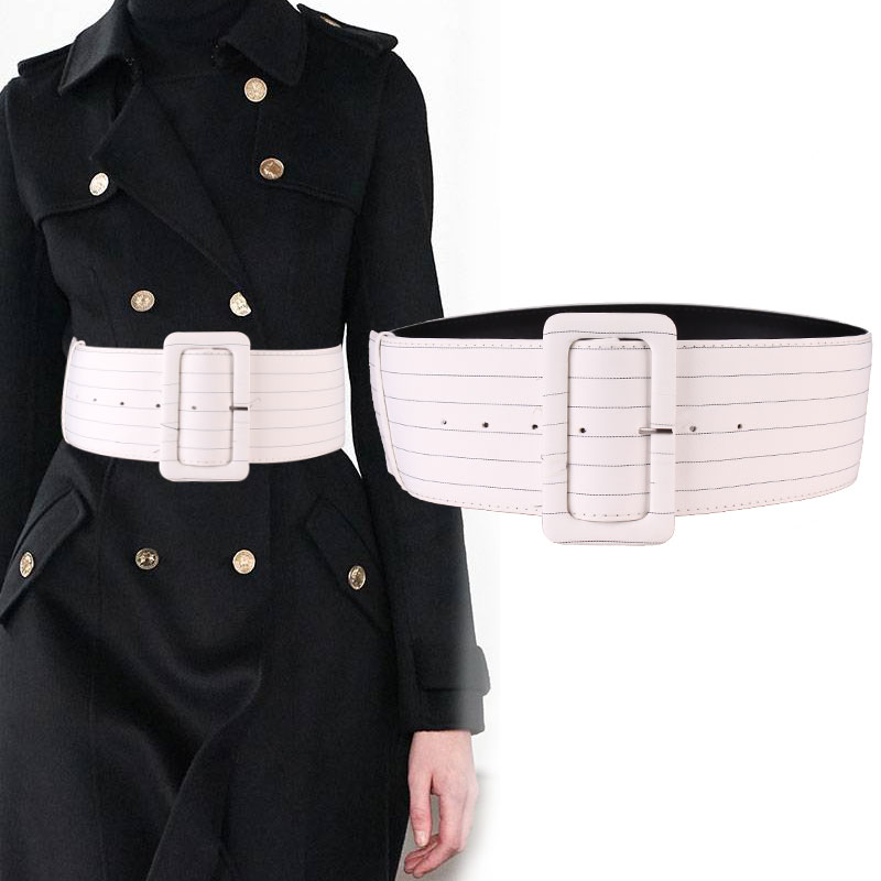 White Stripes Cloth Ultra Wide Waist Sealing Women Decorate Contracted  Belt Collocate Coat Skirt Shirt