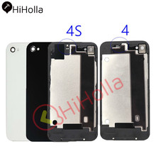 Back Cover For iPhone 4S Housing Battery Door Cover Rear Glass Panel Case For Apple iPhone 4 4S Back Housing 4G Body Replace zomgo chinese brush painting ceramic style aluminum back case for iphone 4 4s mouse
