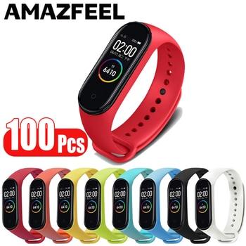 100Pcs/Pack Mi band 4 Strap Bracelet For Xiaomi Mi Band 4 Smart Strap Silicone Mi band 3 Wrist Strap Miband 4 3 Accessories Band