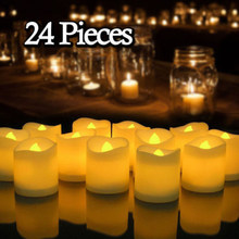 24 PCS Senza Fiamma Candele Votive Batteria Operated Flickering LED Tea Light Festa Nuziale Di Compleanno Forniture(China)