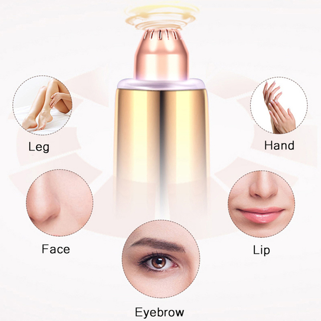 Electric Eyebrow Trimmer Mini Painless Eye Brow Epilator Lipstick Brows Hair Remover With LED Light OPP Package Without Battery 1