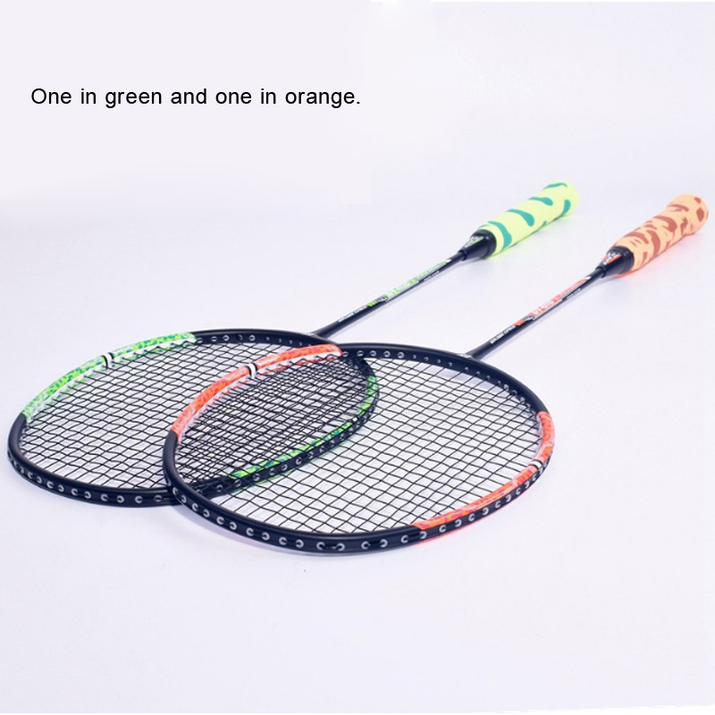 Pair Of Badminton Racket Carbon Training Special Racket Family Entertainment Adult Students 2 Packs Double Shot