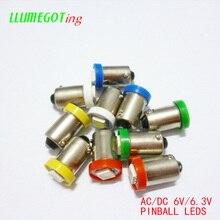 100 قطعة BA9S T4W #44 #47 قاعدة 1SMD 5050 6.3 فولت التيار المتناوب لا قطبية مختلف الألوان المتاحة ل بالي ماكينة لعبة الكرة والدبابيس مصباح لمبات
