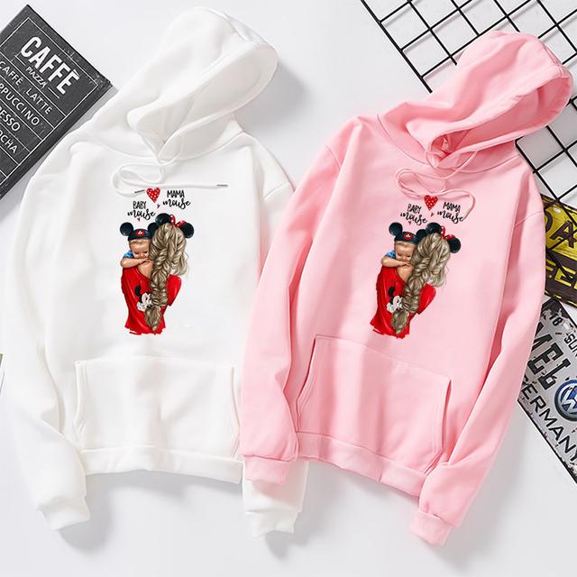 Super Mama and Baby Boy Pullovers Streetwear Sweatshirt Autumn Winter Womens Fashion Clothing Female Casual Long Sleeve Hoodies