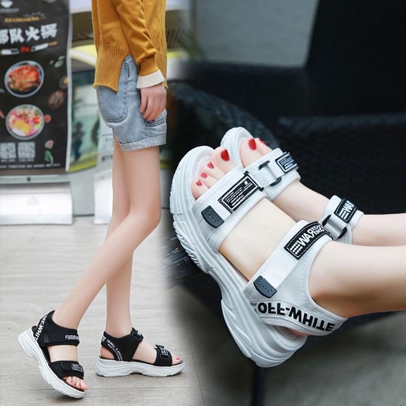 Wohdhe  Wedges Women Sport Sandals Thick Bottom Platform Casual Hook Loop Open Toe Pu Leather  Sandals Women's Summer Shoes 2020