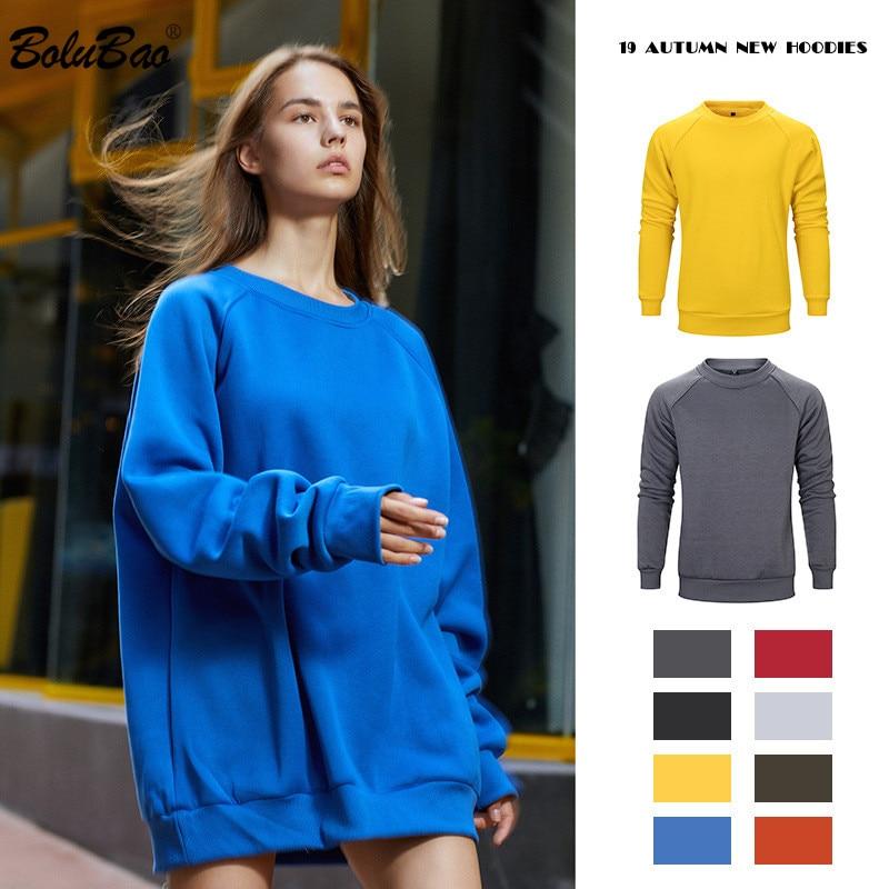 BOLUBAO Hoodies Male Sweatshirts Autumn Solid-Color Men's Casual Brand Comfortable Round-Neck