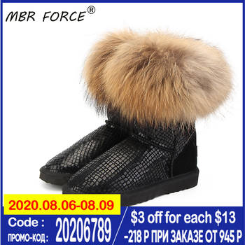 MBR FORCE High Quality Women Natural Real Fox Fur Snow Boots Genuine Leather Fashion Women Boots Warm Female Winter Shoes Ship top fashion 2018 real wool botas mujer high quality genuine sheepskin leather snow boots natural fur waterproof women shoes