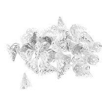 50 Pieces Silver Filigree Cone Shape Tassels End Caps Beads Cap Pendants Findings Connectors for Jewelry Making Beading Craft(China)
