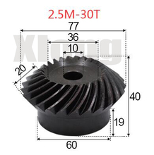 2pcs 2.5M-30Teeths Inner Hole: 10mm Precision Spiral Bevel Gear Spiral Bevel Gear стоимость