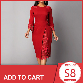 Red Plus Size Cocktail Dress Scoop Neck 3/4 Sleeves Lace Mermaid Knee Length Wedding Party Formal Night Club Cocktail Dress grey pom pom design scoop neck 3 4 length sleeves t shirt