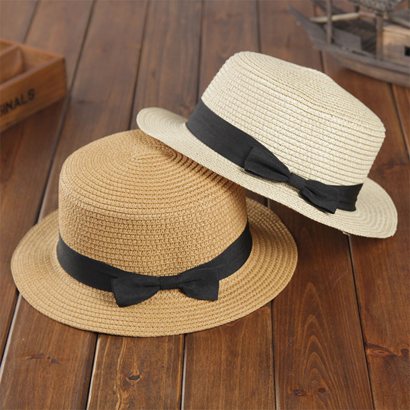 2019 Simple Fashion Summer Beach Hat Female Casual Panama Hat Lady Brand Women Flat Brim Bowknot Straw Cap Sunscreen Sun Hat
