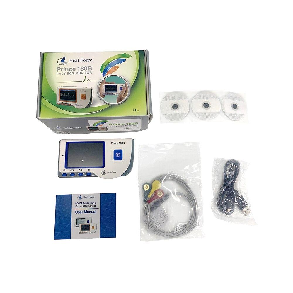 Медицинский Портативный Легкий ЭКГ монитор Исцеление устройство для испытания усилия монитор сердечного ритма с USB кабель+ электрод колодки+ свинцовые провода - Цвет: Синий