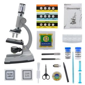 Image 5 - 조명 된 어린이 현미경 1200X 줌 단안 생물 현미경 초급 어린이 학생 키즈 교육 장난감 현미경